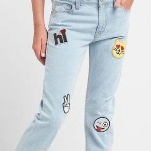 Gap kids Girlfriend Fit Sequin Patch Blue Jeans 12